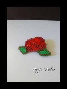 Flower rose  brooch hama perler by Alice Tobbi