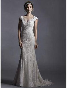 Robes de mariée en dentelle applique col bateau traîne courte pas cher élégant classique