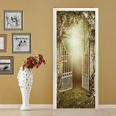 3D-Forest-Gate-181-Door-Wall-Mural-Photo-Wall-Sticker-Decal-Wall-AJ-WALLPAPER-AU