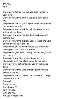 I'm nobody too #Depressionsuicide