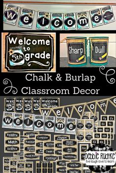 Chalkboard and burlap classroom decor!  Simple, neutral, sweet!