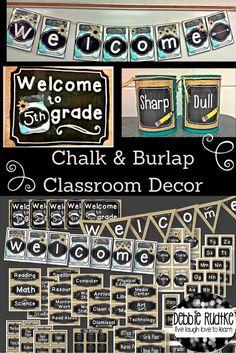 Chalkboard and burlap classroom decor!  Simple, neutral, sweet!
