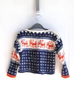 Toddler Sweater Reindeer Hand knit Navy blue by SakaoVintage Knitting For Kids, Baby Knitting, Cute Winter Sweaters, Toddler Sweater, Fair Isle Knitting, Kid Styles, Kind Mode, Pulls, Crafts