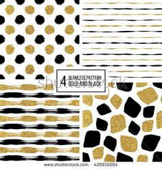 Set of grunge seamless pattern of black gold stripes, polka dots, mosaic spots, texture black and golden lines, circle, point, stroke, hand drawn vector pattern for textile, wallpaper, web, wrapping