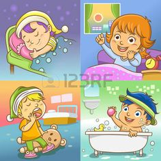 Child routine bed room vector image on VectorStock Kids Vector, Cat Vector, Free Vector Images, Vector Free, Daily Routine Activities, Activities For Kids, Girl Reading Book, Cute Little Dogs, Cartoon Boy