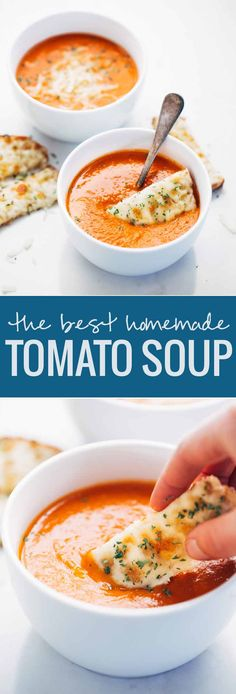 Simple Homemade Tomato Soup - just a handful of pantry ingredients and 20 minutes hands-on time is all it takes to make this INCREDIBLE homemade tomato soup! soup Simple Homemade Tomato Soup - Pinch of Yum Healthy Diet Recipes, Cooking Recipes, Simple Recipes, Cooking Games, Cooking Tips, Simple Sandwich Recipes, Cooking Pasta, Cooking Bacon, Diabetic Recipes