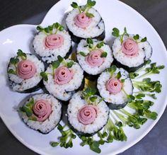 예쁜 도시락 장미 김밥 만드는 방법 Appetisers, Cooking With Kids, Korean Food, Food Menu, Recipe Collection, Catering, Sushi, Lunch Box, Cooking Recipes