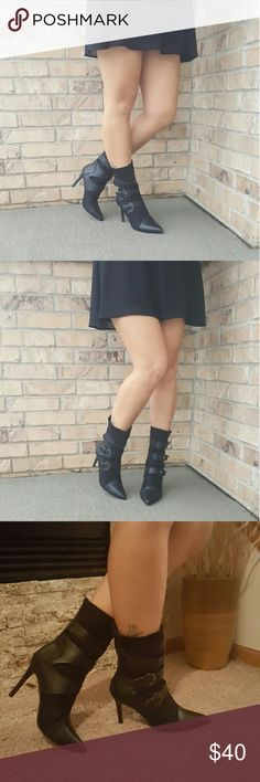 Womens Stunning Black Booties BRAND NEW WITH BOX.   Omg seriously how can you even resist these stunning, sexy high heel booties.   Color: black  Suede Fabric (Man Made)  Heel height: 4  1/2 inches  Shaft: 7 1/2  inches  Circumference approximately 12 inches.  Side zipper.  Runs true to size.   SHIPS NEXT BUSINESS DAY!  More sizes in stock.   Sizes currently in stock as of 1/28  5.5, 6, 6.5, 7, 7.5, 8, 8.5, 9, 10 Shoes Ankle Boots & Booties