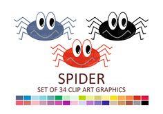 Spider Clipart, Halloween Clipart, Scrapbooking Clipart, Digital Clip Art…