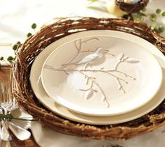 --bird plate--looks like dishes are in a nest--really cute!