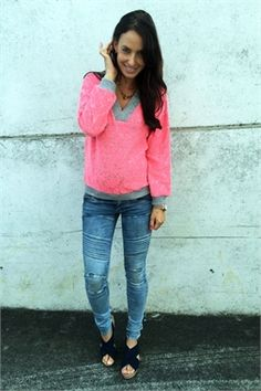Fluro Trap Sweater Pink-augustine-Augustine by Kelly Coe