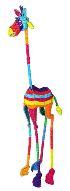 """Wow! I need my sunglasses to look at this funky striped beaded giraffe! This is a meter (39"""") tall."""