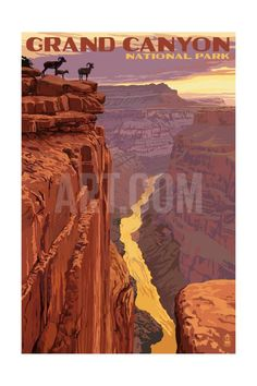 Grand Canyon National Park - Bighorn Sheep on Point Art Print by Lantern Press at Art.com