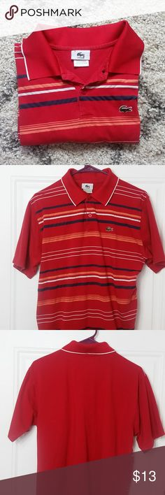 Lacoste Men Short Sleeve Polo Shirt Size 7 Cute Red Polo Shirt Lacoste with Blue White and Orange stripes. Lacoste Shirts Polos