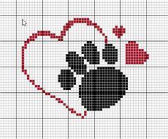 Patinha e corações ponto cruz Cross Stitch Heart, Cross Stitch Cards, Cross Stitch Animals, Cross Stitching, Cross Stitch Embroidery, Embroidery Patterns, Cross Stitch Designs, Cross Stitch Patterns, Graph Crochet