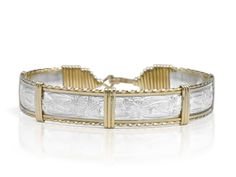 The name Victoria means royalty and has been several Queens' Name's. It is no secret That the Victoria bracelet has been one of Ronaldo's top selling items for many years.  Description The Victoria Bracelet is created from beautiful Sterling Silver. It has exquisite deep cut etching, surrounded by 2 strands of flat 14K Gold artist wire, and is finished by a single diamond cut wire. This design from Ronaldo's Limited Edition Series Bracelets.