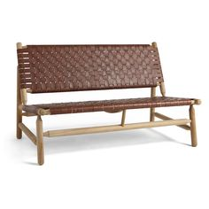 Hand-Woven Leather Harrison Bench | Wisteria
