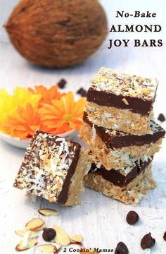 No Bake Almond Joy Bars | 2 Cookin Mamas Easy to make with no baking required! Full of coconut, almond & choclaty goodness and tastes just like your favorite Almond Joy bar. #recipe #cookies #dessert