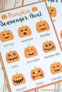 Free printable pumpkin scavenger hunt for a Halloween or fall party