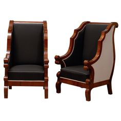 Pair of Biedermeier chairs made out of walnut| From a unique collection of antique and modern wingback chairs at http://www.1stdibs.com/furniture/seating/wingback-chairs/