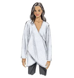 Tunic from Vogue Patterns features criss-cross panels and hemline variations. Choose soft cottons for summer tops. Sew V9111, Misses' Top