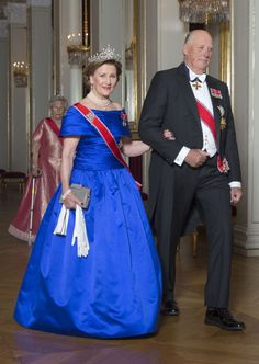 Queen Sonja and King Harald of Norway host a gala dinner for the Members of Parliament at the Royal Palace in Oslo on October 22, 2015