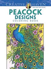 Adult Coloring Book Peacock Designs Stress Relief Doodle Creative Relaxing Fun