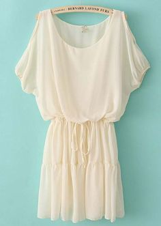 Beige Off the Shoulder Drawstring Waist Chiffon Dress dude! i could so wear this! Star Fashion, Love Fashion, Fashion Outfits, Womens Fashion, Fasion, Looks Style, My Style, Latest Dress, Dress Me Up