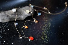 Long Solar System Galaxy Necklace Elegant Unique by jerseymaids, $135.00