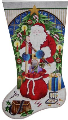 click here to view larger image of Fishing Christmas Stocking - 13 mesh (hand painted canvases)