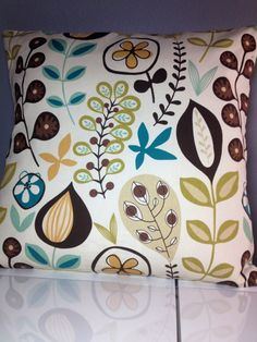 White Brown Teal Mustard Tan Yellow fun floral pattern Decorative Pillow Cover 24 x 24 inch Gorgeous Home Decor Fabric throw pillow cover Mustard Cushions, Yellow Pillows, Decorative Pillow Covers, Throw Pillow Covers, Throw Pillows, Colour Pallette, Palette, Brown Teal, Home Decor Fabric