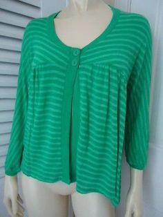 LUX Sweater Sz M Stretch Knit Striped Green Babydoll Cardigan Boho Hippie CHIC!