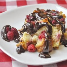Raspberry Chocolate Bread Pudding