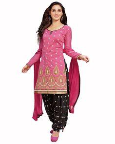 Pink/Black Color Patiala Suit http://www.sulbha.com/pinkblack-color-patiala-suit-p-9463.html