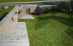 House & garden on a steep terrain on Behance Sidewalk, Home And Garden, Landscape, Modern, Garage, Behance, House, Carport Garage, Scenery