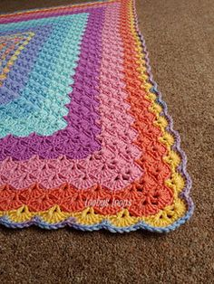 MyPicot #4025 by MYpicot. Crochet pattern for a square which you continue for the blanket. Written directions, and pdf with crochet diagram are here: http://www.mypicot.com/4025.html