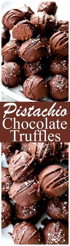Salted Pistachio Dark Chocolate Truffles - Decadent chocolate truffles made with…