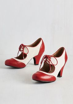 1930s red and white shoes. Best sellers! Its a Sure Fete Heel in Rouge $44.99 AT vintagedancer.com
