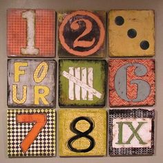 Knock-off number art- I could do this on tiles or canvas Crafts For Kids, Arts And Crafts, Diy Crafts, Domino Art, Number Art, Paper Collage Art, Wood Sample, Tinta China, Unique Wall Art
