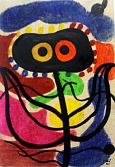 La Planta - Oil Painting on Paper - Joan Miro 48 x 33 cm