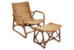 Bodega Rattan Lounger & Ottoman, Natural   If I only had enough money to buy all these things I could have a beautiful home....