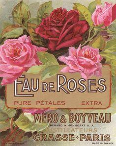 Antique French Paris Lithograph Perfume Label Eau de Roses by Mero & Boyveau