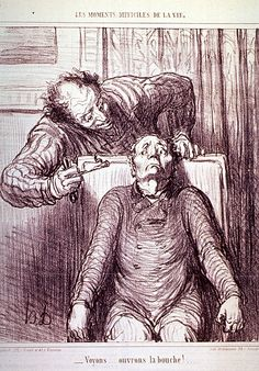"""""""Voyons--ouvrons la bouche!"""" by Honoré Daumier (National Library of Medicine - History of Medicine, via Flickr); Back when dentists were even scarier!"""