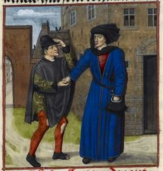 Detail of a miniature of a poor man being given money by his true friend (who is wearing another great hat, called a 'chaperon'), Harley MS ...