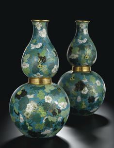 AN EXCEPTIONAL PAIR OF LARGE CLOISONNE 'DOUBLE-GOURD' VASES<br>SEAL MARKS AND PERIOD OF QIANLONG | Lot | Sotheby's