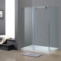 Aston Langham 60-in x 35-in x 77.5-in Completely Frameless Sliding Shower Enclosure in Chrome w. Base | Overstock.com Shopping - The Best Deals on Shower Doors