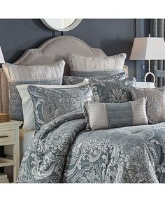 Best Bedding Sets For Couples Luxury Comforter Sets Queen, Elegant Comforter Sets, Blue Comforter Sets, Damask Bedding, Echo Bedding, Croscill Bedding, Dorm Bedding, Luxury Bedding Collections, Bedding Sets Online