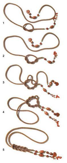 Ways to tie a lariat Изделия из бисера и натуральных камней - Как носить лариаты
