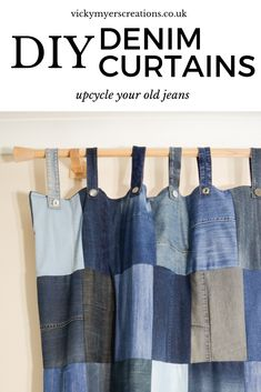 Make your own DIY Denim Curtains from your old jeans, pairing different shades of denim give a unique look. Make your own heavy, draught excluding tab top denim curtains. Learn how to line your tab top curtains. Jean Crafts, Denim Crafts, Jeans Denim, Old Jeans, Sewing Clothes, Diy Clothes, Bags Sewing, Sewing Tutorials, Sewing Projects