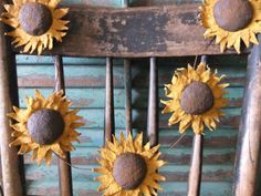 Primitive Sunflower Garland  Rustic by TreasuredPrimitives on Etsy, $36.95